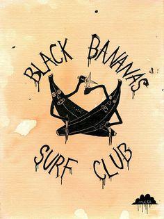 The art of Mulga- drawing of surf club logo bananas fighting with knives (black bananas surf club) by Mulga The Artist, via Flickr