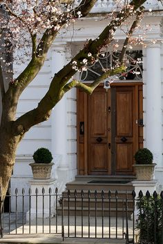 grand wooden front door with a blossom tree