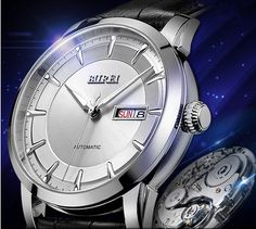 BUREI® Men's SM-13001-P01AY Day and Date Black Calfskin Leather Watch with White Dial  http://amzn.to/1LqzPYI