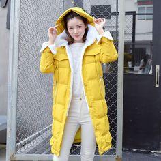 Women Medium Long Slim Cotton Clothing Hooded Lamb Wool Stitching Down Jacket