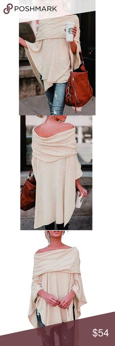 871295822207 🌟HP🌟KAMILA Womens Off the Shoulder Poncho Top😽 Boutique