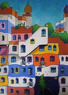 Hundertwasser - Almut Dorsch - #Almut #Dorsch #Hundertwasser Friedensreich Hundertwasser, Graffiti Art, Street Art, Building Art, Art Plastique, House Painting, Illustrations, Art Lessons, Home Art