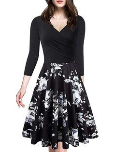 3427532318 V Neck Floral Printed Skater Dress #SkaterDresses Cheap Skater Dresses,  Floral Skater Dress,