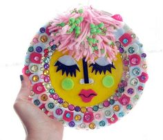 Fuzzy Plate. Felt collage on ceramic plate with plastic jewels. Becca Kacanda 2012. (sold.)