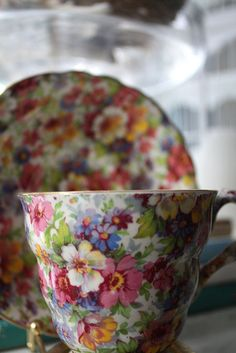 Vintage Chintzware. If you have any, keep it. Hard to find and valuable, plus most importantly Chintzware is beautiful. Named after the chintz patterned aprons the factory women wore who painted the china. One company was making reproductions about 20 years ago through Victoria Magazine, don't know if they still are. Sincerely, JoAnne Craft