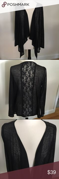Cecico Sheer Black Cardigan Sz. L This is so beautiful.  It is made by the illustrious Cecico.  It was never worn. Size large. NWOT Cecico Tops