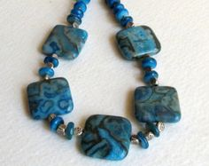 Dark Aqua Jasper Necklace, With Shell Beads, Sterling Silver Beads and Clasp, Smokeylady54