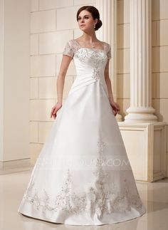 A-Line/Princess Square Neckline Floor-Length Satin Tulle Wedding Dress With Embroidered Ruffle Beading Sequins (002012175)