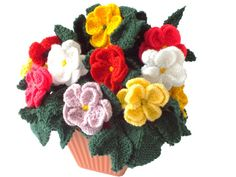 Pot of knitted dahlias, knitting pattern for dahlias, knitted flowers,  floral…