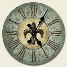 New Fleur de Lis Clock French Bourbon St Wall Decor Art Green Brown Accent Tick Tock Clock, Country Chic Cottage, Country Kitchen, Decoupage, Tuscan Decorating, Decorating Ideas, Decor Ideas, Shabby Chic Homes, Wall Art Decor