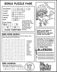 birds puzzle page activity sheet free coloring pages for kids printable colouring sheets - Kid Sheets