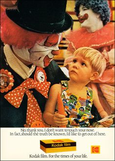 Clown Trauma, 1976 by MewDeep, via Flickr. That poor kid, look at his face!