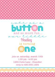 Cute as a Button Invite