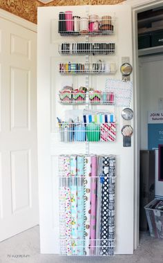 Hi Sugarplum Organized Craft & Gift Wrap Great idea to use the back of doors for organization Organisation Hacks, Organization Station, Craft Organization, Organizing Ideas, Craft Closet Organization, Wrapping Paper Organization, Organizing Art Supplies, Organization Ideas For The Home, Wrapping Paper Station