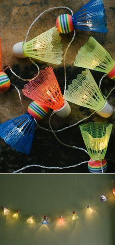 DIY shuttlecock lights garland - 15 New Outdoor Lighting Tutorials To Brighten Up Your Summer | GleamItUp