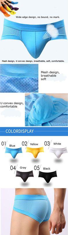 US$5.10 / 46%OFF Men's Modal U Convex Pouch Mesh Briefs Underwear :Breathable /Soft /Sexy8