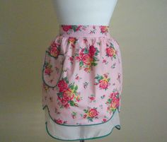 REVERSIBLE Pink With Red Roses Vintage Half Apron by CraftyMJC, $12.00