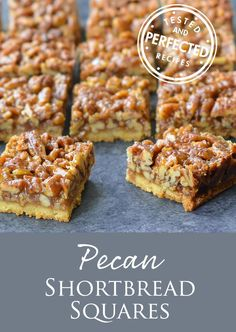 Pecan Shortbread Squares were delicious! I didn't have a pan so I used an and they came out a bit thick. I love shortbread so I'm planning on doubling the shortbread, keeping the same topping volume, and using a slightly wider pan next time. Pecan Desserts, Pecan Recipes, Cookie Desserts, Just Desserts, Sweet Recipes, Baking Recipes, Cookie Recipes, Delicious Desserts, Dessert Recipes