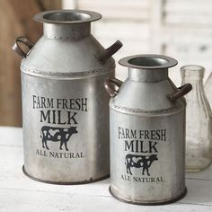Primitive Decor - Set of Two Farm Fresh Milk Cans Ginger Brownies Farmhouse Style Decorating, Decorating Your Home, Farmhouse Decor, Farmhouse Ideas, Country Farmhouse, Milk Cans, Milk Jug, Pots, Fresh Milk