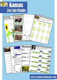 FREE Kansas State Worksheets for kids Preschool - 5th grade to learn about Kansas in a fun, interactive way! #preschool #homeschool #social studies #kansas #unitedstates