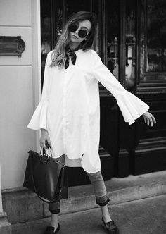 Le Fashion Blog Statement Sleeve White Shirt Skinny Jeans Square Bag Via The…