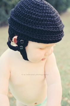 Hockey Helmet Hat - Crochet Photo Prop. Lavenderlune from Etsy made his skates as well