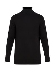 Sunspel Roll-neck Wool Sweater In Black Joey Tribbiani, Roll Neck Sweater, Wool Sweaters, Mens Fashion, How To Wear, Clothes, Black, Style, Tie Neck Blouse