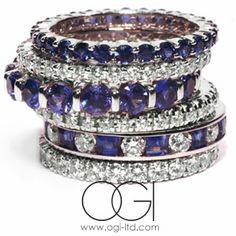 stackable rings in sapphires and diamonds create a unique look every time! come see our selections of colors, gemstones and diamonds at Partita Custom Design Jewelry in San Francisco, CA