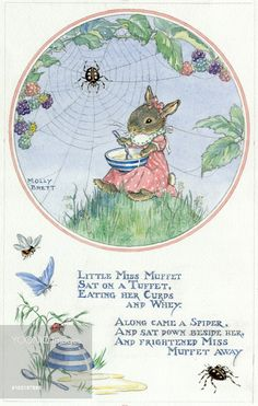 Little Miss Muffet nursery rhyme illustrated with a mouse eating her curds and whey, next to a spider in a web. Illustration by Molly Brett.