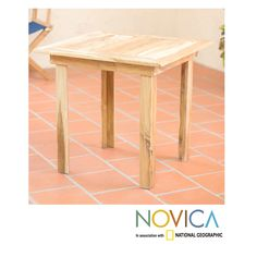 Novica Handcrafted Teak 'Mexican Sierra' Square Accent Table