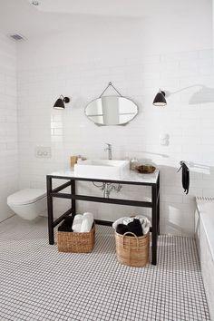 """Hej torsdag! Just nu håller jag på med ett par olika badrum i funkisstil, och samlar därför inspirationsbilder på """"uppgraderad modern..."""