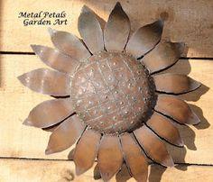 Wall Flower  Metal Petals Garden Art    Garden Art, wall art, flower, sunflower, art, sculpture, home decor, home and garden, recycled, steel, metal art, rustic, primitive