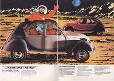 """Brochure Tintin  intérieur fin """" Voyage sur le Planete 2CV"""""""