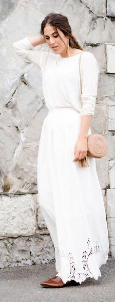 Spring White Maxi Dress Streetstyle