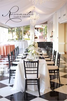 Romantic Table Decor in a color palette of black and white Chivari Chairs Wedding, Wedding Reception Chairs, Chiavari Chairs, Wedding Tables, Reception Ideas, Rustic Design, Diy Design, White Table Settings, Hollywood Wedding