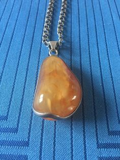 """Excited to share the latest addition to my #etsy shop: Amber pendant in silver mount with stunning silver chain 38cm/ 15"""" http://etsy.me/2nOvn2w #jewellery #necklace #danish #baltic #teardrop #silvermount #pendant #amber #vintage"""
