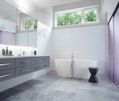 We like wall hanging vanities in the bathroom and we like floor mounted bill mixers!
