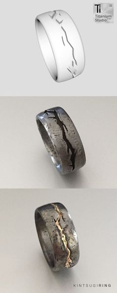 Printed titanium ring with crevice design and filled with gold.
