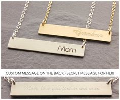 Personalized Bar Necklace silver bar gold bar mom by MegusAttic Etsy Jewelry, Jewelry Gifts, Charm Jewelry, Gifts For Wife, Gifts For Her, Silver Bar Necklace, Silver Ring, Daughter Necklace, Necklace Extender