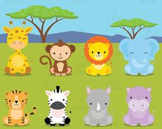 Safari Baby Animals Clipart / Jungle Animals by ClipArtisan Baby Wild Animals, Jungle Animals, Cute Animals, Lion Birthday Party, Animal Birthday, Safari Party, Safari Theme, Scrapbook Bebe, Jungle Theme Classroom