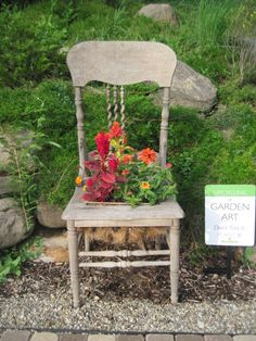 Recycle old furniture - make it into a planter for the garden