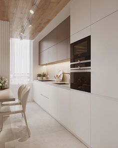 Beige Kitchen Cabinets, Neutral Cabinets, Kitchen Cabinet Colors, Modern Cabinets, Oak Cabinets, Kitchen Room Design, Modern Kitchen Design, Interior Design Kitchen, Kitchen Decor