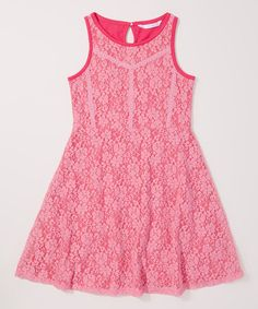 Look what I found on #zulily! Pink Floral Fit & Flare Dress - Girls #zulilyfinds