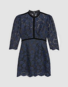 Sandro short dress<br /> • Round neck and mid-length sleeves<br /> • Fabric with floral embroidery<br /> • Velvet details Lace at the neck Concealed zip fastening at the back Model is wearing a size 1<br /><br />