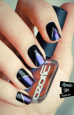 Tutorial for art deco style nails (by pshiiit.com) using Essie Licorice (black base), Ozotic 504 (purple), silver stripping tape, & scotch tape.