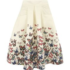 **Jolie Moi Beige Butterfly Print Skirt (€51) ❤ liked on Polyvore featuring skirts, bottoms, saias, white, butterfly skirt, white a line skirt, white knee length skirt, knee length a line skirt and white skirt