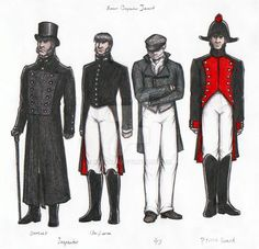 ) sketches of Inspecor Javert from Victor Hugo's novel Les Misérables, in the four costumes and a half? Les Miserables Victor Hugo, Broadway Costumes, Theatre Costumes, Les Miserables Costumes, College Costumes, French Outfit, Anthony Perkins, My Fair Lady, Les Miserables