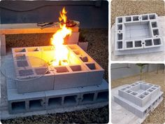 Ideas concrete patio makeover diy cinder blocks for 2019 Fire Pit Grill, Diy Fire Pit, Fire Pit Backyard, Cinder Block Fire Pit, Cinder Block Garden, Cinder Blocks, Cinder Block Ideas, Cinder Block Furniture, Fire Pit Furniture
