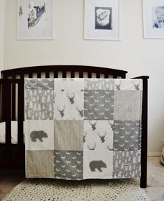Bedding Set Rustic Woodland Themed Crib by SleepingLakeDesigns