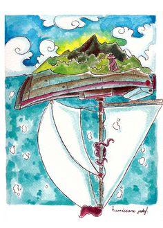 """""""The trip"""" ilustración en acuarela y tinta sobre papel guarro"""
